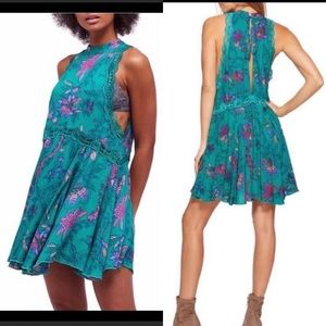 Free People She Moved floral lace green dress